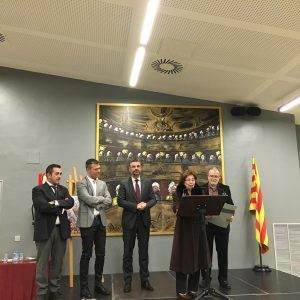 L'homenatjada amb el Conseller Vila i l'alcalde de Riudoms