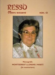 Portada del monogràfic dedicat a la Montserrat Llorens